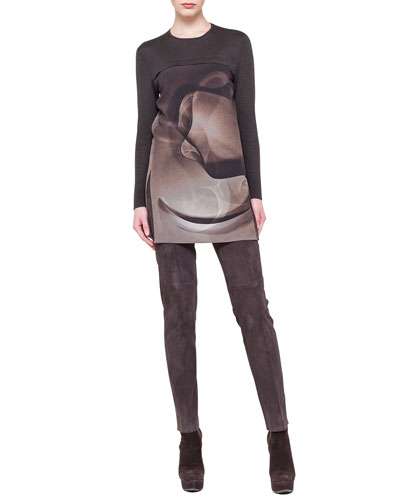 Akris Abstract-Print Mix-Media Tunic & Melissa Suede Side-Zip Ankle Pants