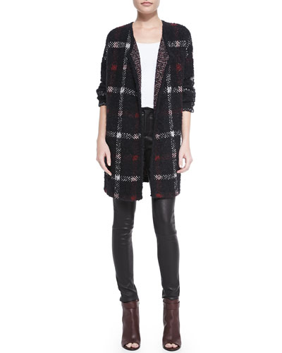 Theory Darcian Plaid Open Sweater Jacket & Pitella Flat-Front Lambskin Leggings
