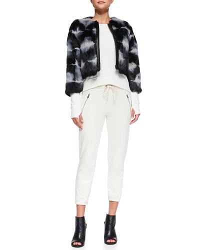Tie-Dye Cropped Fur Jacket, Annie High-Low Perforated Sweatshirt & Betsee Drawstring-Waist Cropped Pants