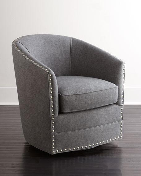 Neimanmarcus Bryn St. Clair Charcoal Tweed Swivel Chair