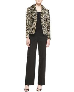 Neiman Marcus Open-Front Leopard-Print Jacket & Straight Wide-Leg Pants