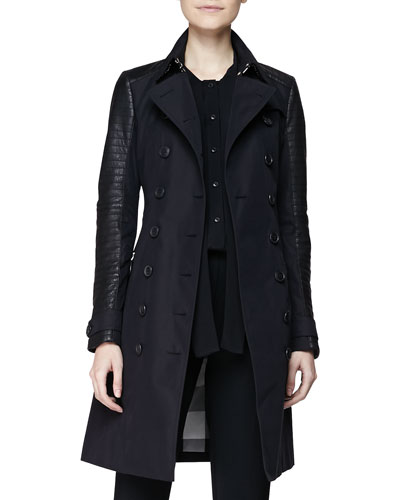 Burberry Brit Leather-Sleeve Trenchcoat & Sleeveless Jumpsuit