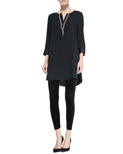 Eileen Fisher Silk Georgette Crepe Tunic & Stretch Velvet Ankle Leggings