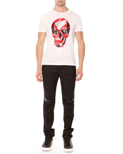 Skull-Print Jersey Tee & Rubber-Patch Wool Trousers