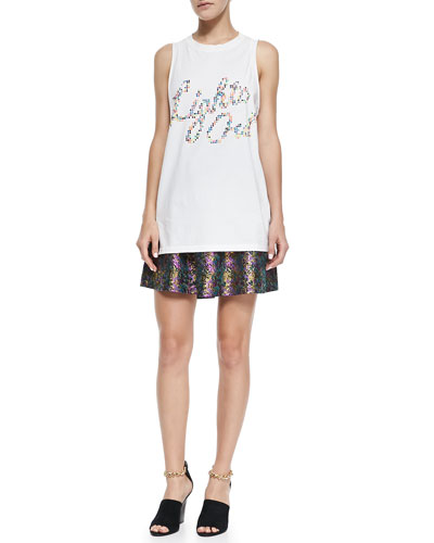 3.1 Phillip Lim Embellished Lights Out Tank Top & Single-Pleat A-Line Mini Skirt