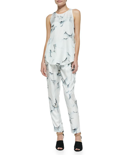 3.1 Phillip Lim Sleeveless Overlapping Side-Seam Blouse & Cropped Draped-Pocket Trousers