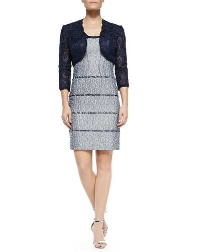 3/4-Sleeve Lace Cropped Jacket & Cap-Sleeve Tiered Cocktail Dress