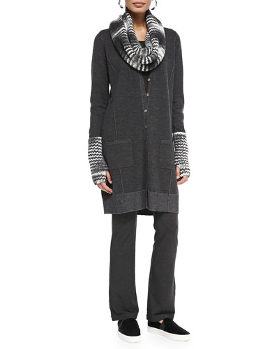 Eileen Fisher Fine Merino Knee-Length Cardigan, Slim Jersey Top, Space-Dyed Chainette Layer Cap, Scarf &  Glovettes, Women's