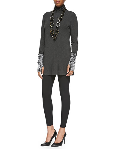 Eileen Fisher Scrunch Turtleneck Tunic, Herringbone Cashmere Glovettes &  Viscose Jersey Leggings
