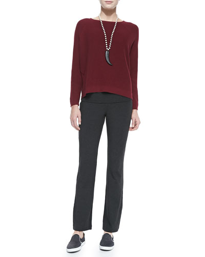 Eileen Fisher Thermal-Stitch Long-Sleeve Box Top & Stretch Jersey Yoga Pants, Petite