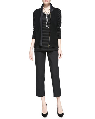 Eileen Fisher Merino Wool Vest with Parka Trim, Striped Long-Sleeve Top & Twill Slim Ankle Pants