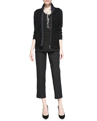 Eileen Fisher Merino Jersey Striped Long-Sleeve Top & Organic Stretch Twill Slim Ankle Pants, Women's