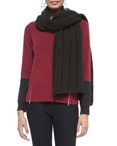 Eileen Fisher Super-Soft Yak/Merino Ladders Cap, Soft Colorblock Top w/ Zipper Hem & Yak/Merino Scarf