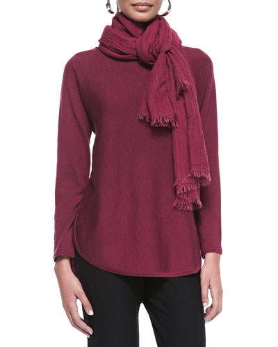 Eileen Fisher Merino Jersey Shirttail Tunic & Puckered Modal Wool Silk Scarf