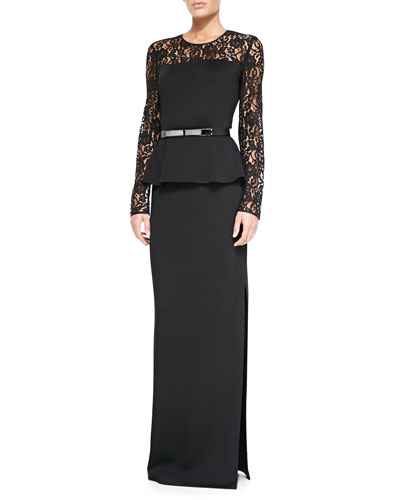 Double-Face Satin Crepe Gown with Lace Sleeves & Thin Leather Hip Belt w/ Metal Bar