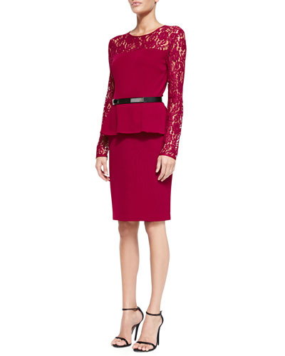 St. John Collection Double-Face Satin Crepe Dress with Lace Sleeves & Thin Leather Hip Belt w/ Metal Bar