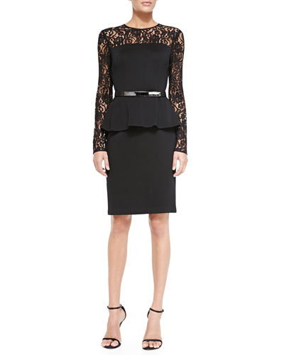 Double-Face Satin Crepe Dress with Lace Sleeves & Thin Leather Hip Belt w/ Metal Bar