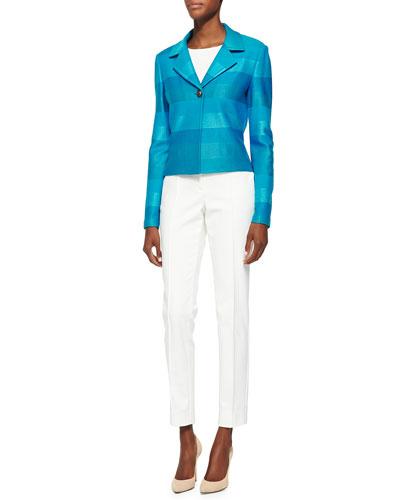 St. John Collection Ombre Stripe Knit Jacket, Rib Knit Bateau Neck Shell, Stretch Micro Ottoman Pants & Thin Leather Hip Belt w/ Metal Bar