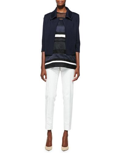 St. John Collection Milano Knit 3/4-Sleeve Jacket, Organza Sleeveless Tunic & Stretch Micro Ottoman Pants