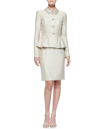 Sparkle Float Knit Peplum Jacket & Dress