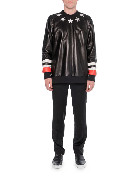 Givenchy Leather-Front Star Sweatshirt, Black