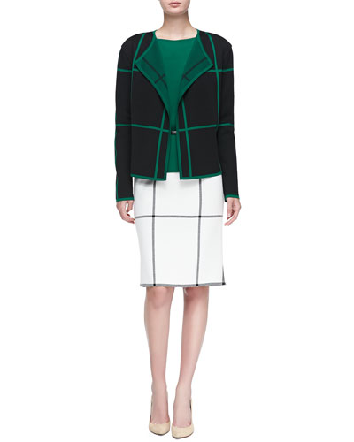Macro Grid Milano Knit Artisan Jacket, Bateau-Neck Cap-Sleeve Shell, Side-Zip Pencil Skirt & Thin Leather Hip Belt w/ Metal Bar