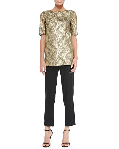 Gilded Lace Jewel-Neck Elbow-Sleeve Top & Liquid Satin Side Zip Cropped Pants