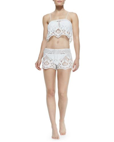 Chandler Lace Crop Top W/ Spaghetti Straps & Minnie Miny Lace Drawstring Shorts