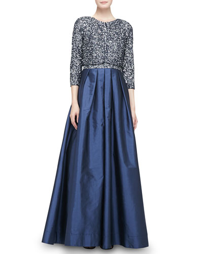 Aidan Mattox 3/4-Sleeve Cropped Sequined Jacket & Beaded Bodice Full-Skirt Combo Gown