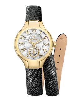 Philip Stein Mini Gold Watch Head & 12mm Lizard Double-Wrap Strap
