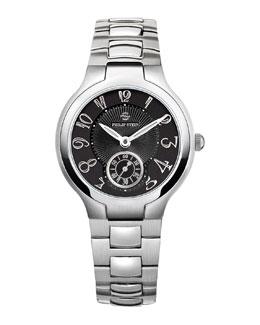 Philip Stein Small Black Round Watch Head & 18mm Stainless Steel Bracelet