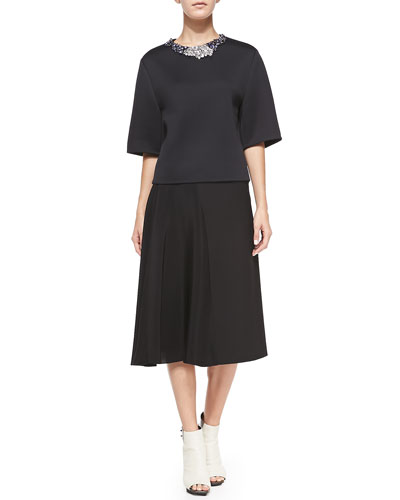 3.1 Phillip Lim Embellished-Neck Shirt and Horizon Full Combo Skirt