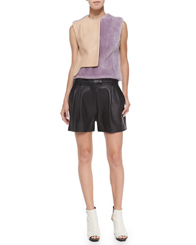 3.1 Phillip Lim Transit Curve Vest & Pleated Lambskin Shorts