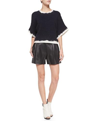 3.1 Phillip Lim Felt & Tape-Yarn Pullover & Pleated Lambskin Shorts