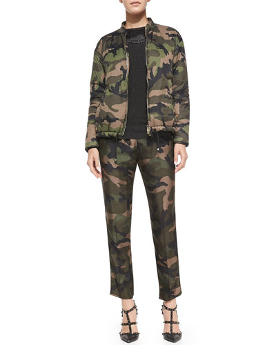 Zip-Front Camo Jacket w/ Drawstring Hem, Sweater w/ Lace Yoke & Sleeve Overlay & Silk Camo Pants