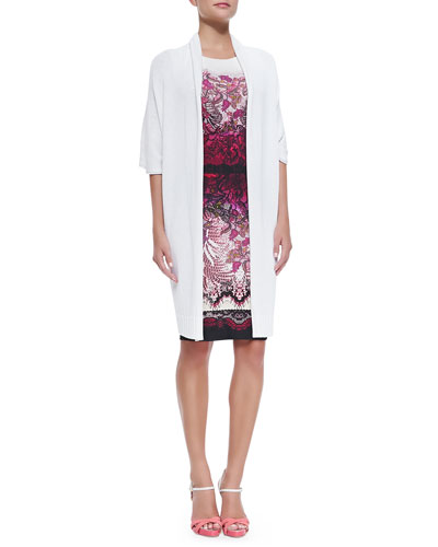 Long Half-Sleeve Cardigan & Sleeveless Floral Lace-Print Dress