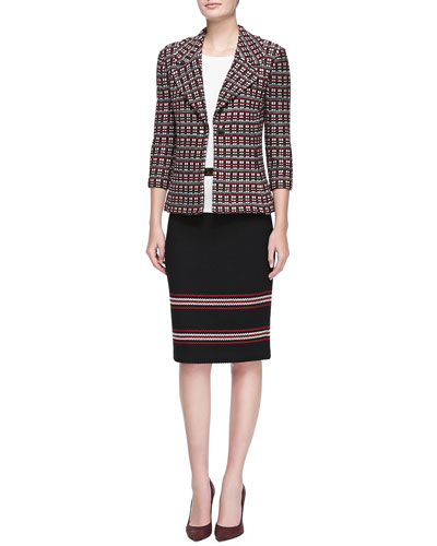 St. John Collection Tri-Tone Cord Knit 3/4-Sleeve Jacket, Rib Knit Bateau-Neck Shell, Cord Inlay Stripe Knit Pencil Skirt & Leather Bar-Detail Belt