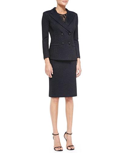 Two-Tone Shimmer Trellis Knit Jacket, Skirt & Lightweight Satin Back Crepe Top