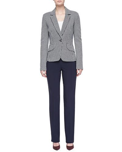 Textured Ribbon Check Knit Blazer, Luxe Crepe Scoop-Neck Shell & Crepe Marocain Straight Leg Pants