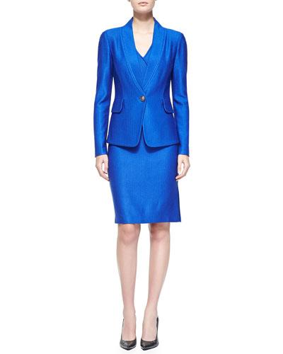 Matte/Shine Chevron Knit Jacket & Dress