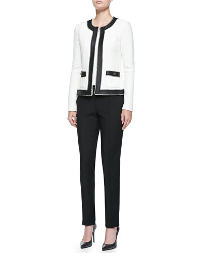St. John Collection Boucle Trellis Knit Jacket with Leather, Rib Knit Bateau-Neck Shell, Stretch Micro Ottoman Pintucked Pants & Leather Bar-Detail Belt