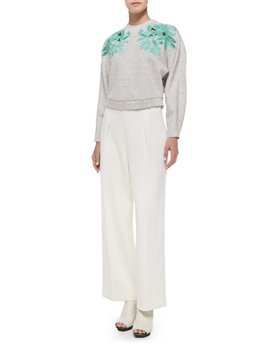 Embroidered Lace Sweatshirt & Wide-Leg Trousers