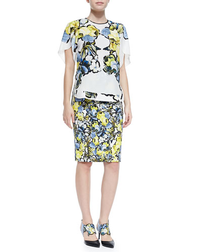 Rakeen Silk Petal Top and Frida Printed Pencil Skirt