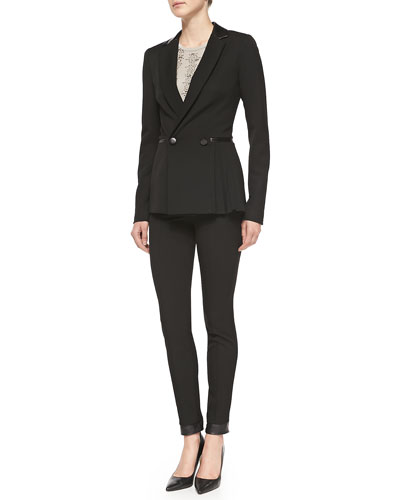 Nanette Lepore Firecracker Pleated-Side Jacket w/Leather Trim, Entertainer Sequined-Front Tank & Trick Rider Skinny Leather-Trim Pants