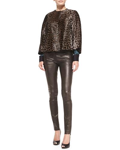 Giorgio Armani Calf Hair Leopard-Print Jacket, Long-Sleeve Silk Blouse & Front-Zip Leather Pants