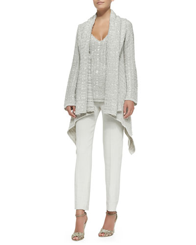 Cashmere Draped Chunky-Knit Cardigan, Cashmere Sleeveless V-Neck Tunic & Cropped Tailored Pegged-Legged Pants