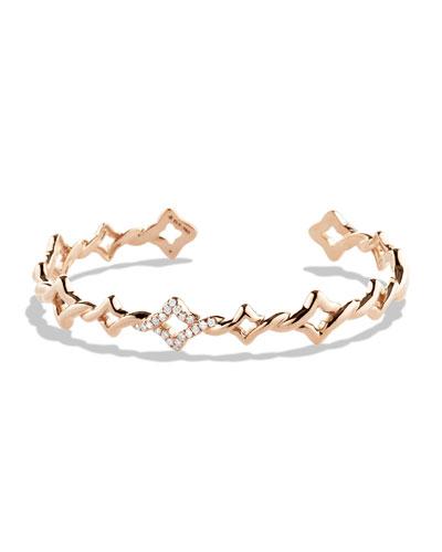 DAVID YURMAN Venetian Quatrefoil Single-Row Cuff Bracelet with Diamonds in Rose Gold