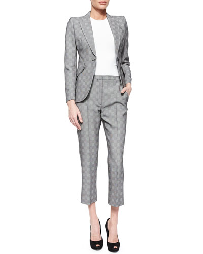 Prince Of Wales Peak-Shoulder Blazer, Solid Crewneck Top & Prince Of Wales Cropped Flare Pants