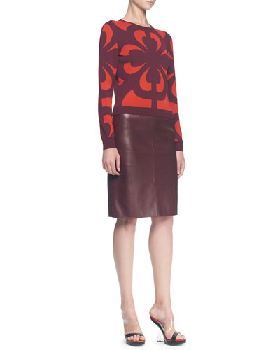 Alexander McQueen Graphic Jacquard Knit Top and Plonge Leather Slim Skirt