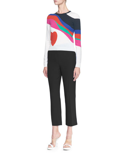 Alexander McQueen Multicolor Heart Crewneck Sweater &Cropped Leaf Crepe Pants